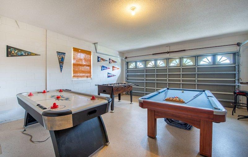 Pool & Air Hockey in Garage