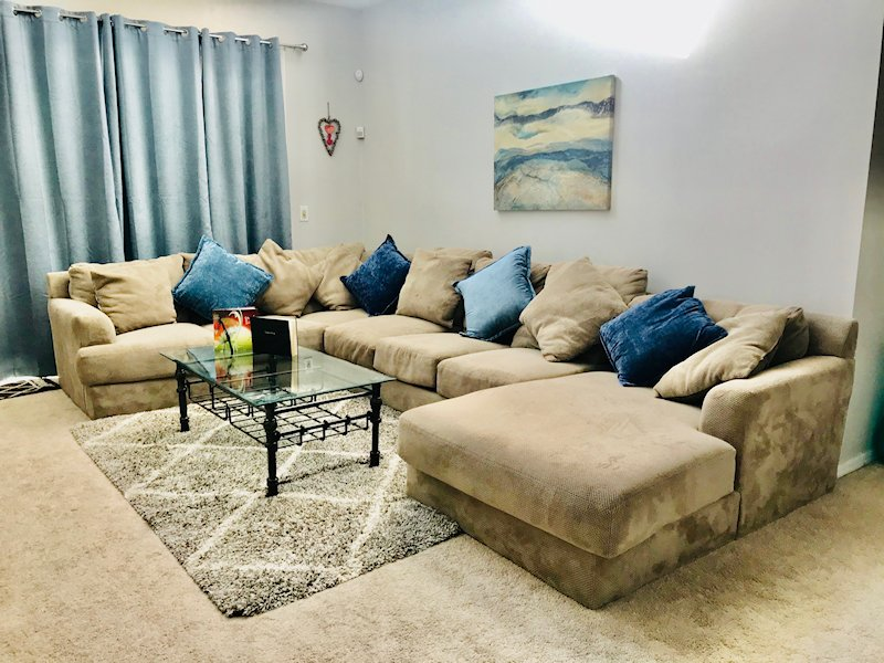 """Living Area with 55"""" Flat Screen TV/Cable"""